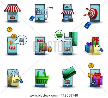 Mobile commerce m-commerce 3d icons set