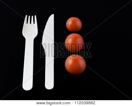 Fork, Knife And Three Tomatoes - Culinary Composition