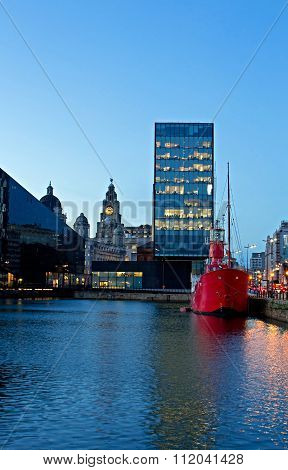 The Albert Dock And Liver Buildings In Liverpool Uk At Dusk