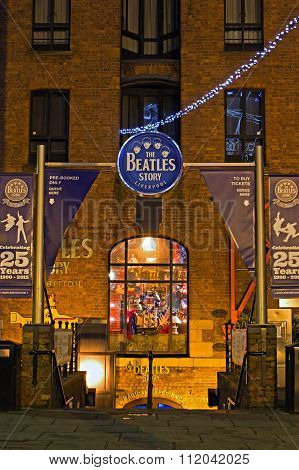 Liverpool Uk, December 16Th 2015. Entrance To The Beatles Story Exhibition, A Popular Tourist Attrac