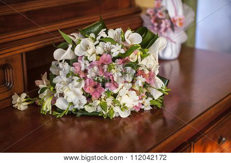Wedding Pink Bouquet On The Table