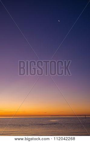 Sunset Over Mornington Peninsula With New Moon High Up