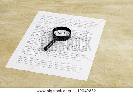 Magnifying Glass Enlarging The Word Search On A Page With Printed Text