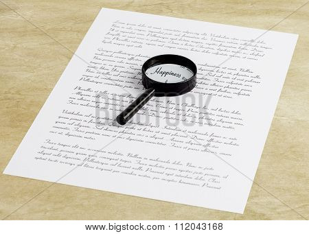 Magnifying Glass Enlarging The Word Happiness On A Page With Printed Text