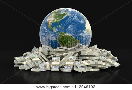 Pile of Dollars and globe. Image with clipping path