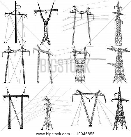Set Electricity Transmission Power Lines. Vector Illustration