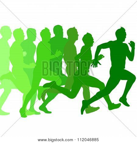 Set Of Green Silhouettes. Runners On Sprint, Men. Vector Illustr