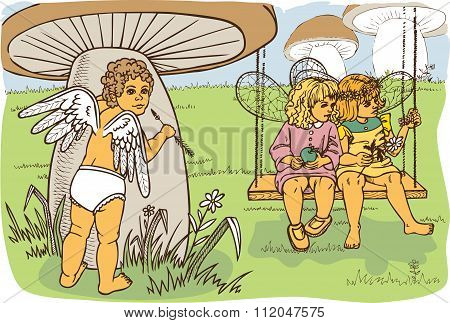 Cupid Watching Fairies
