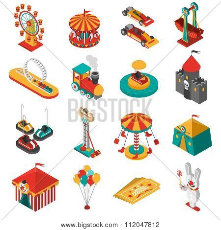 Amusement Park Isometric Icons Collection