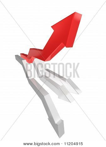 Red And White Graph Arrows On White