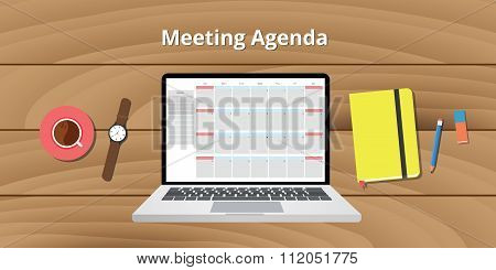 online meeting agenda calendar notebook notes watch