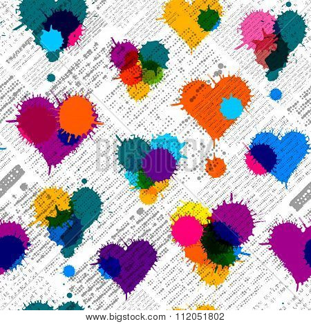 Newspaper hearts background