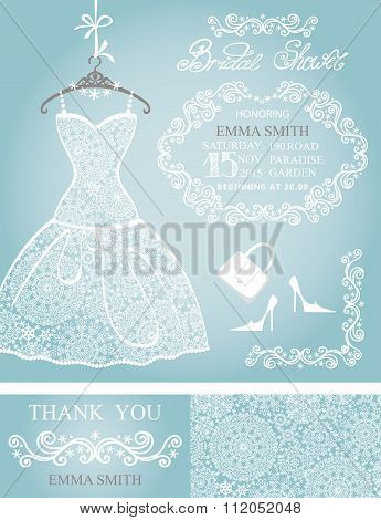Bridal shower invitation set.Winter wedding,lace dress