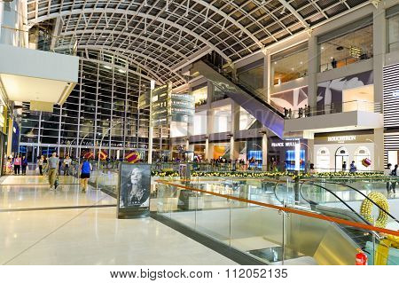 SINGAPORE - NOVEMBER 07, 2015: interior of The Shoppes at Marina Bay Sands. The Shoppes at Marina Bay Sands is one of Singapore's largest luxury shopping malls