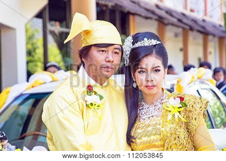 MANDALAY, MYANMAR - November 15, 2015 :Burmese couple wear traditional clothes in a traditional wedding event in Mandalay, Myanmar.