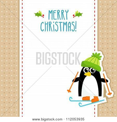 Funny Penguin Vector Christmas Greeting Card Design Template