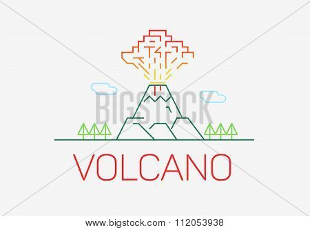 Volcano exploding thin line icon flat design logo elements.