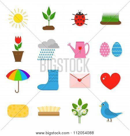 Set of 16 colorful flat spring icons.