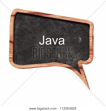 Java Word Concept On Speech Bubbles From Wood On White Background
