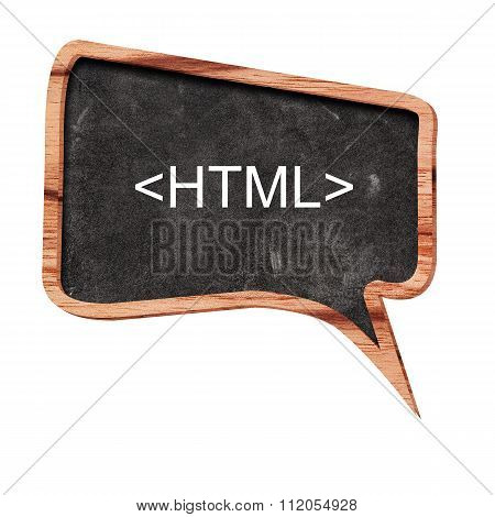 Html Word Concept On Speech Bubbles From Wood On White Background