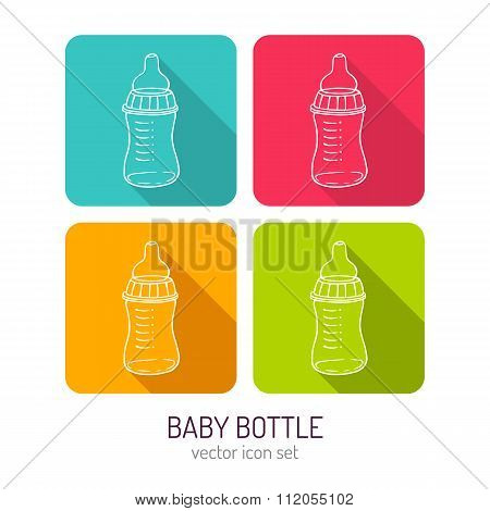 Vector Line Art Baby Feeding Bottle Icon Set In Four Color Variations With Long Shadows