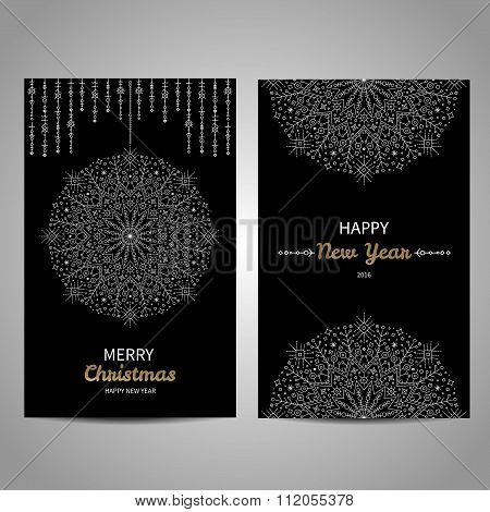 Merry Christmas decorative cards with snowflake