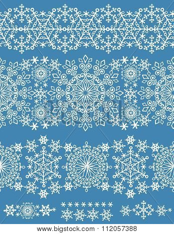 Snowflakes seamless border.Winter pattern lace