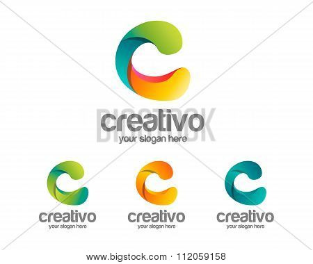 Letter C Logo Template . Simple And Clean Letter C Logo Vector. Colorful Letter C Logo Design