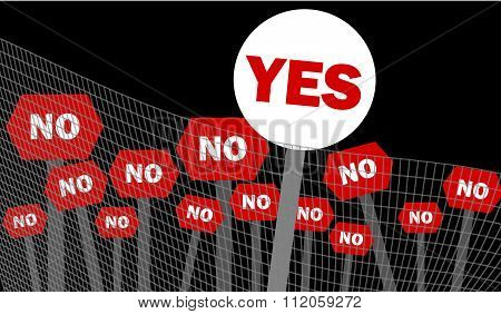 Yes and no decision symbol written on placard