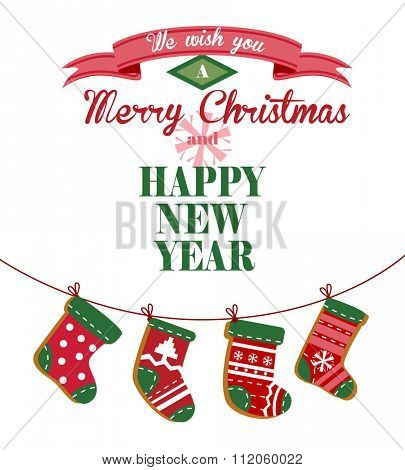 Cute Christmas greeting card with stockings hanging on a rope for banners and decorations.