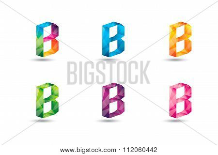 Colorful B Letter Logo Icon Mosaic Pattern Design Template Element. Letter B Design Vector.