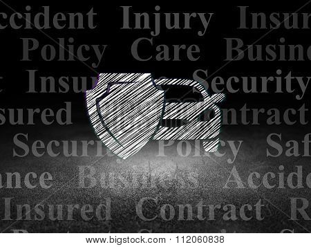 Insurance concept: Car And Shield in grunge dark room
