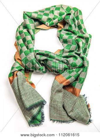 checked green with orange scarf isolated