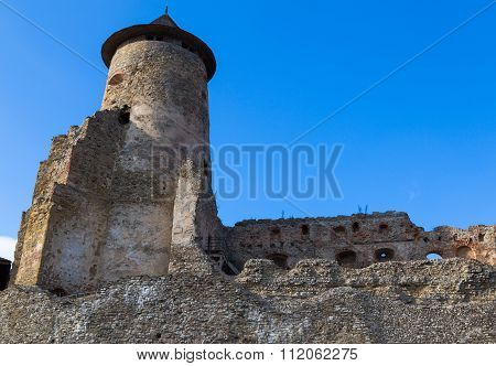 Ancient Defensive Tower And Partially Destroyed Fortress Wall.