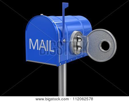 Mailbox and lock. Image with clipping path