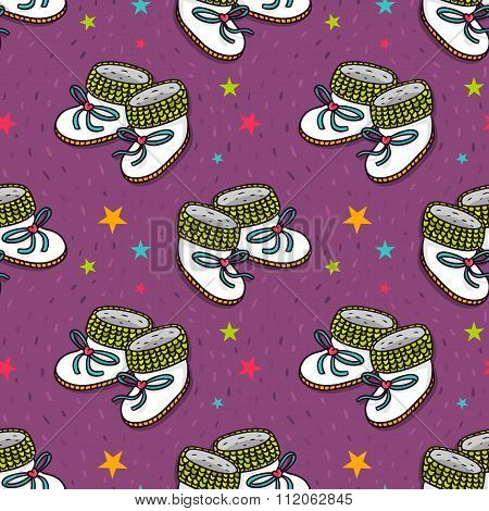 Vector Seamless Pattern With Cute Baby Booties