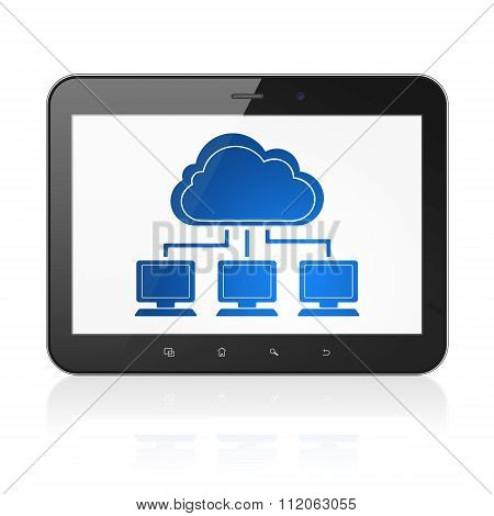 Cloud networking concept: Tablet Computer with Cloud Network on display