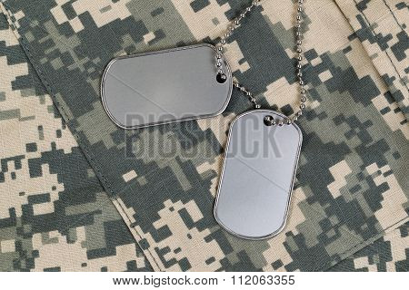 Close Up Of Military Uniform And Identification Tags With Neck Chain