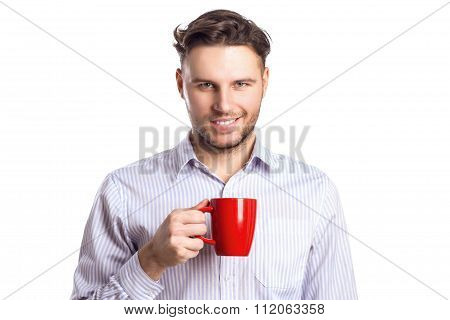 Handsome Smiling Businessman Holding Red Cup