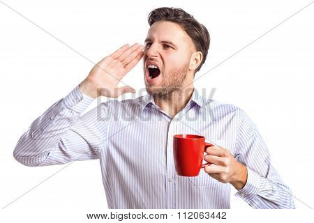Handsome Businessman Holding Red Cup And Screaming At Something