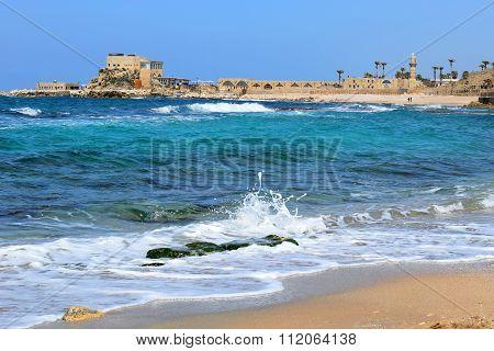 Ancient Port  In Caesarea Maritima, Israel