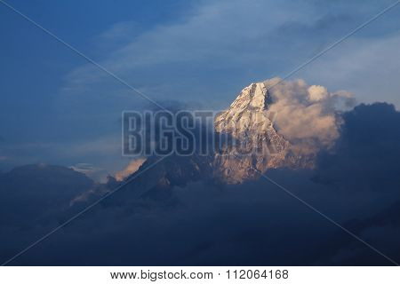 Last Sunlight Illuminating Mt Ama Dablam