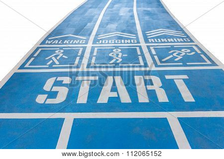 Start Walk And Running Track , White Background