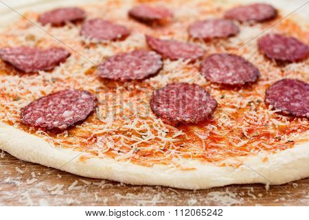 Cooking Pizza, Italian Food With Guerrillas Cheese, Salami Sausage