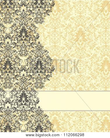 Vintage invitation card with ornate elegant abstract floral design, gray and flax yellow on pale yellow background. Vector illustration.