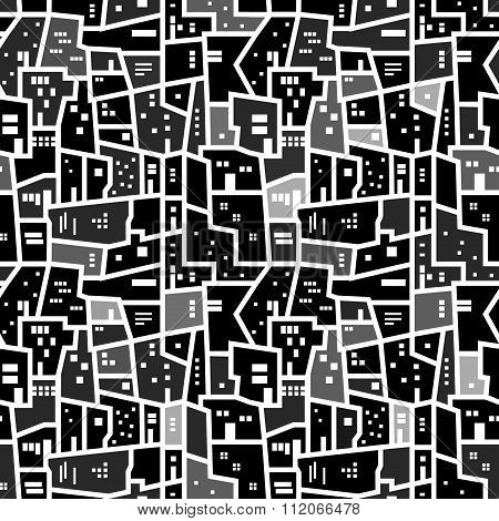 Abstract seamless urban pattern