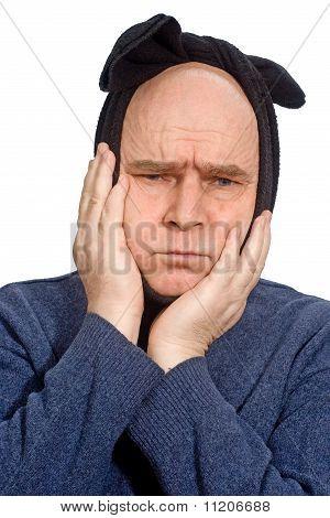 Homem careta de dor de dente de sofrimento