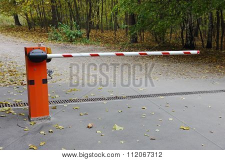 Road Closed With A Barrier