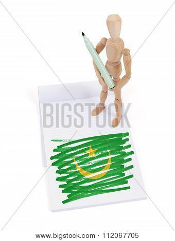 Wooden Mannequin Made A Drawing - Mauritania