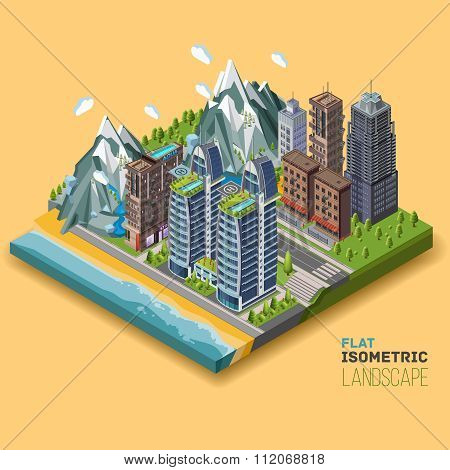 Isometric city concept part of the land to the sea